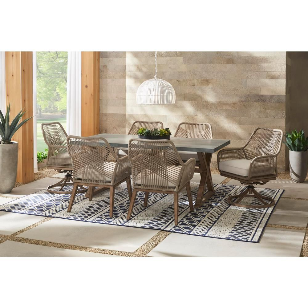 Hampton Bay Haymont 7 Piece Steel Wicker Outdoor Patio Dining Set With Beige Cushions Frs80961 St The Home Depot Patio Dining Chairs Patio Dining Furniture Patio Furniture Covers