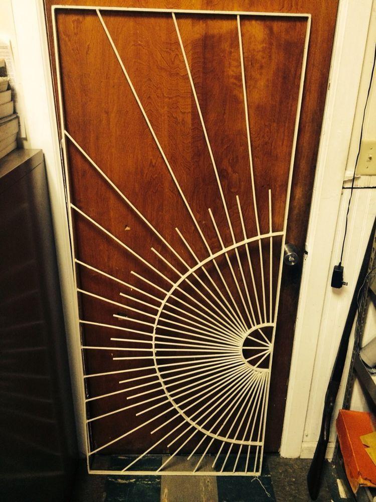 Mid century metal sunburst screen door grille danish - Mid century modern exterior doors ...
