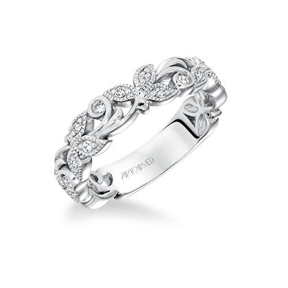 Artcarved Bridal Diamond Anniversary Band with Leaf and scroll