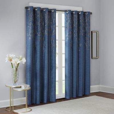 Madison Park Tara Embroidered 95 Inch Window Curtain Panel In Blue