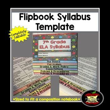 Editable Flipbook Syllabus Template  Syllabus Template Students