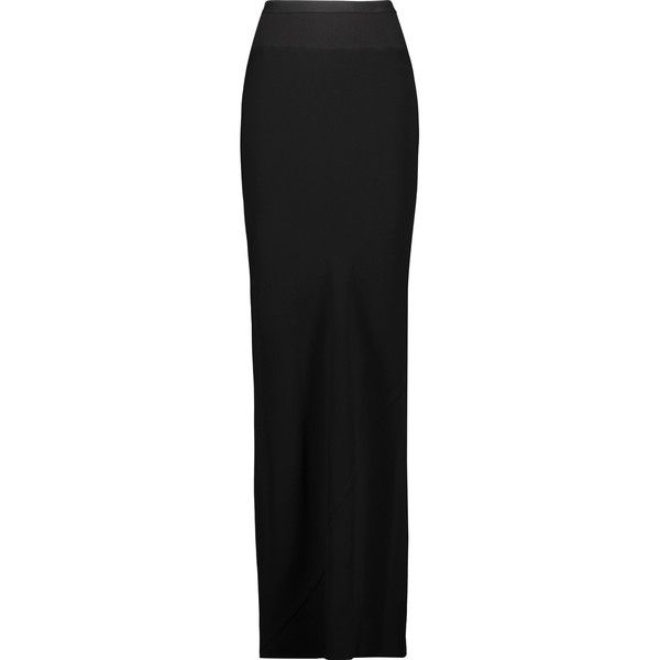 Rick Owens - Paneled Stretch-jersey Maxi Skirt (1.360 BRL) ❤ liked on Polyvore featuring skirts, black, elastic waist maxi skirt, maxi skirt, rick owens, jersey skirt and long draped skirt