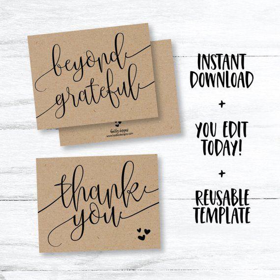Thank You Printable Diy Thank You Card For Wedding Thank You