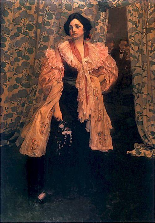 Józef Mehoffer, Śpiewaczka. Portret Wandy Janakowskiej (siostra żony Mehoffera) , 1896