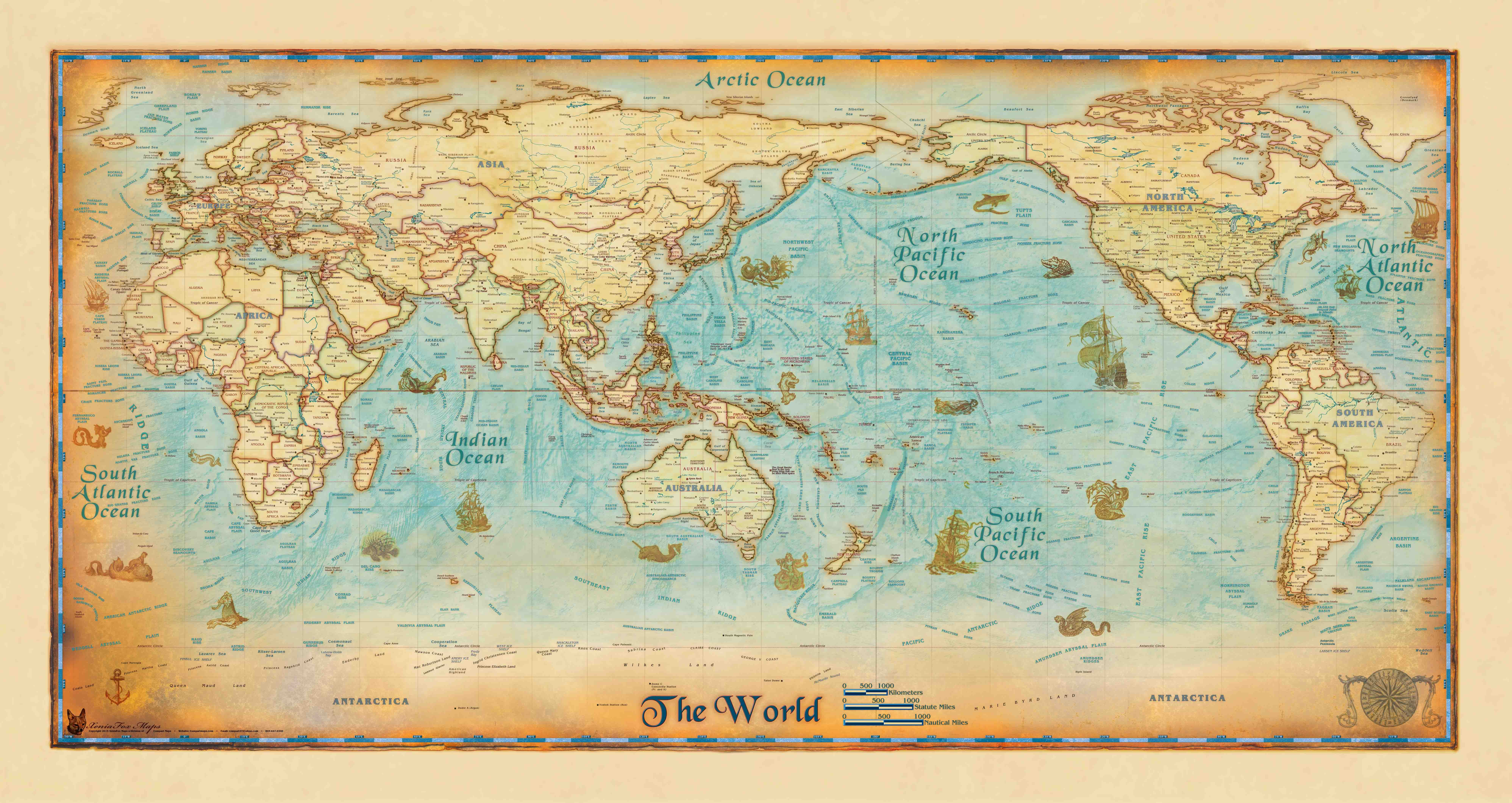 Antique World Wall Map Pacific Centered