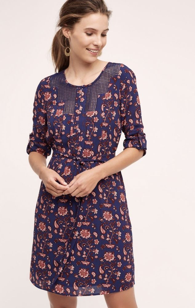NEW Anthropologie Meadow Rue blue wine white Floral Paisley Belt Crepe Dress S #MeadowRue #belteddress #versatile