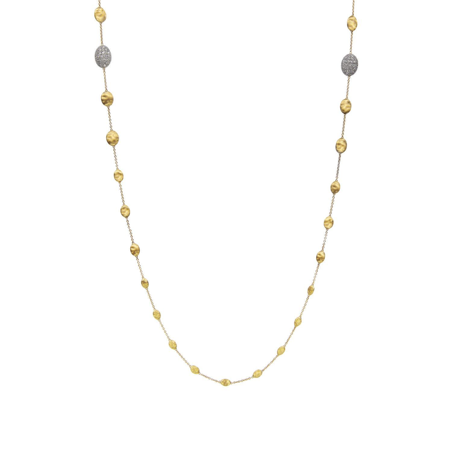 Siviglia Gold Bead & Two Station Diamond Pave Long Necklace
