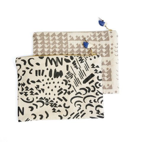 Graphic Tech Clutch by Jen Garrido & Bead by Helen Levi Exclusively for Half Hitch Goods