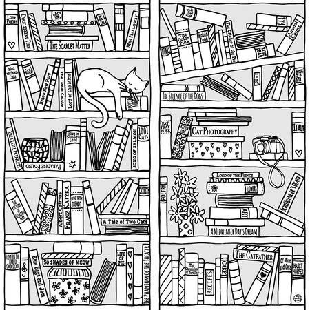 Hand Drawn Bookshelf With Sleeping Cat Black And White Book Quilt Coloring Pages How To Draw Hands