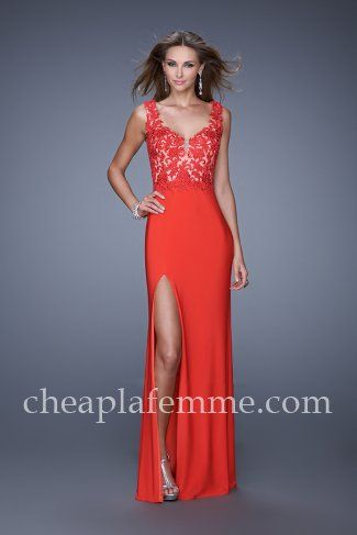 Lace Top Slit Strawberry Long Prom Gown by La Femme 20640