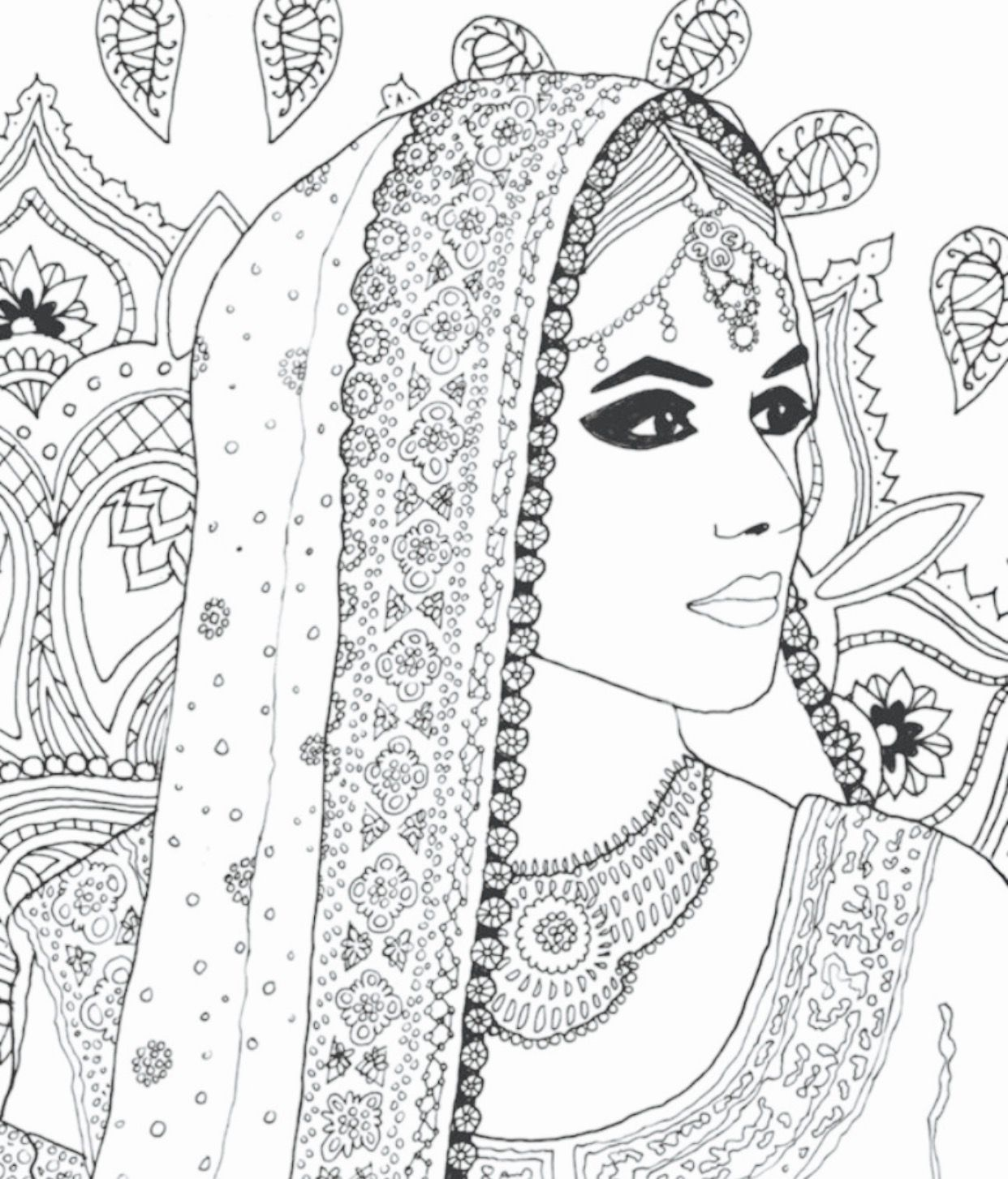 Indian Bride Coloring Page Beautiful Women Coloring Pages Coloring Pages Learn Art Mandala Drawing