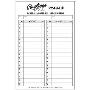 Line Up Card Baseball  Baseball Lineup Cards  Softball