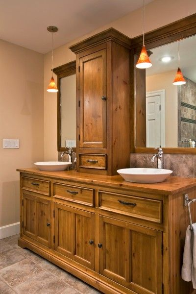 This Pine Vanity Features His And Hers Vessel Sinks And Generous