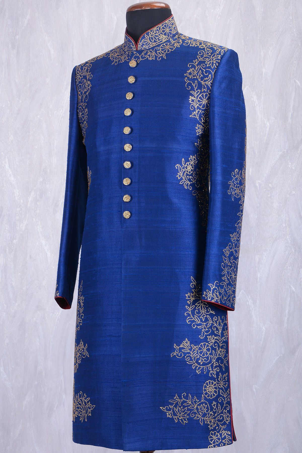 Ocean blue raw silk stone embroidered wedding sherwanish