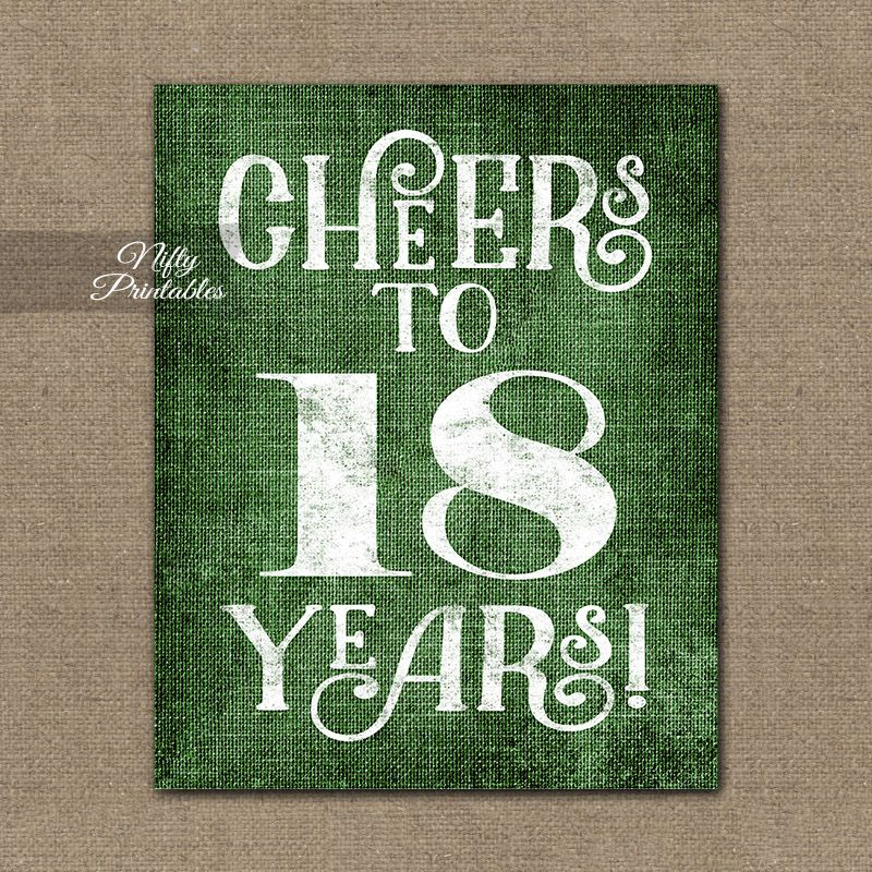 18th Birthday Sign Green Linen in 2019 60th birthday