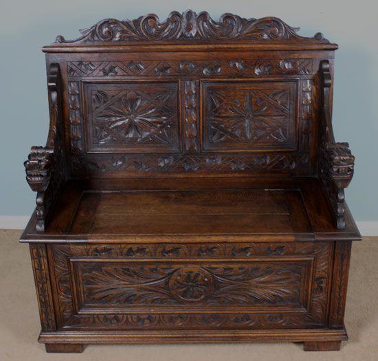 Antique Carved Oak Hall Seat Settle Monks Bench With