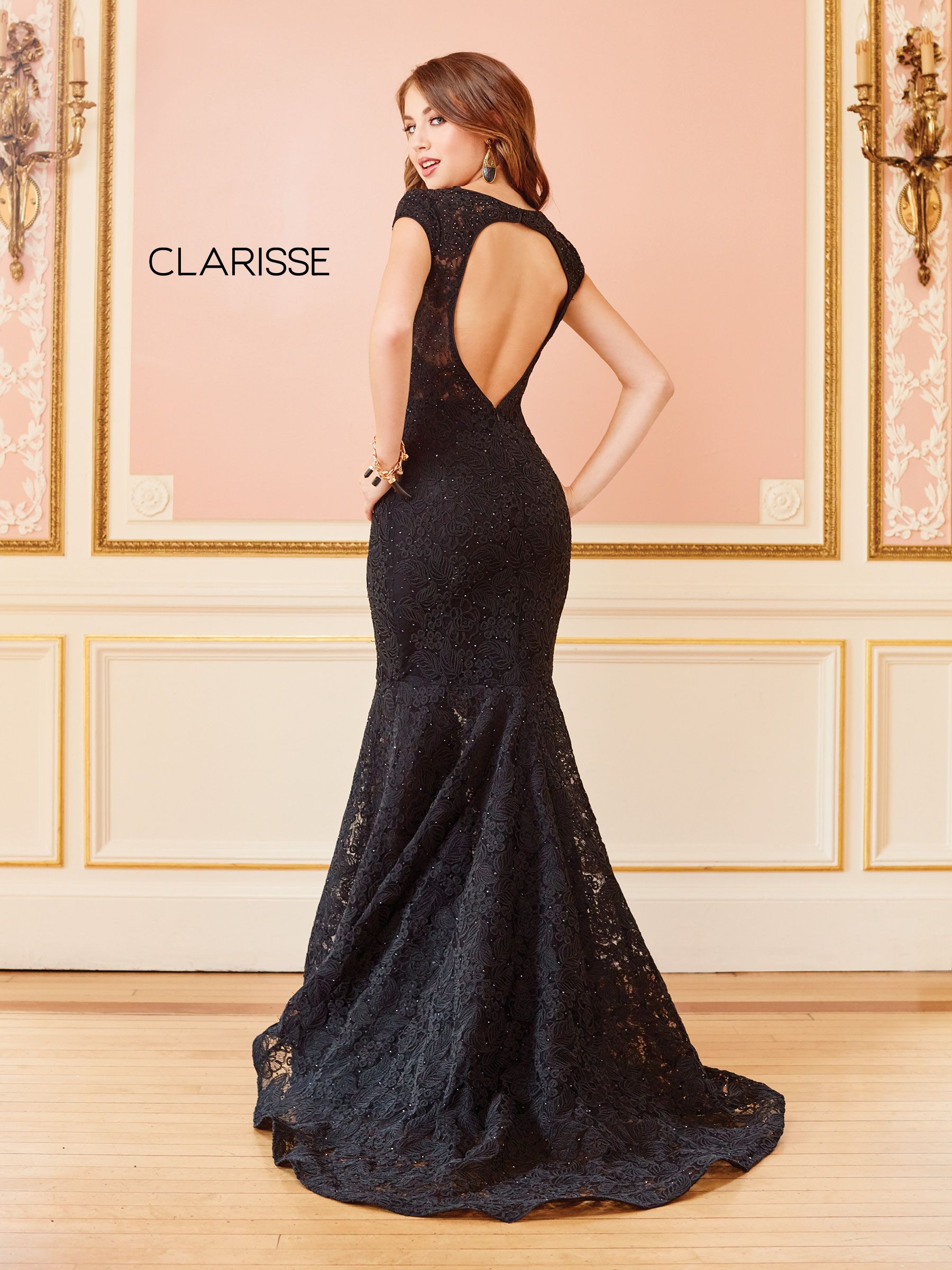 4852 Black Lace Mermaid Dress With Short Sleeves And An Open Back Prom Dresses Sleeveless Tight Prom Dresses Prom Dresses Lace [ 2400 x 1800 Pixel ]