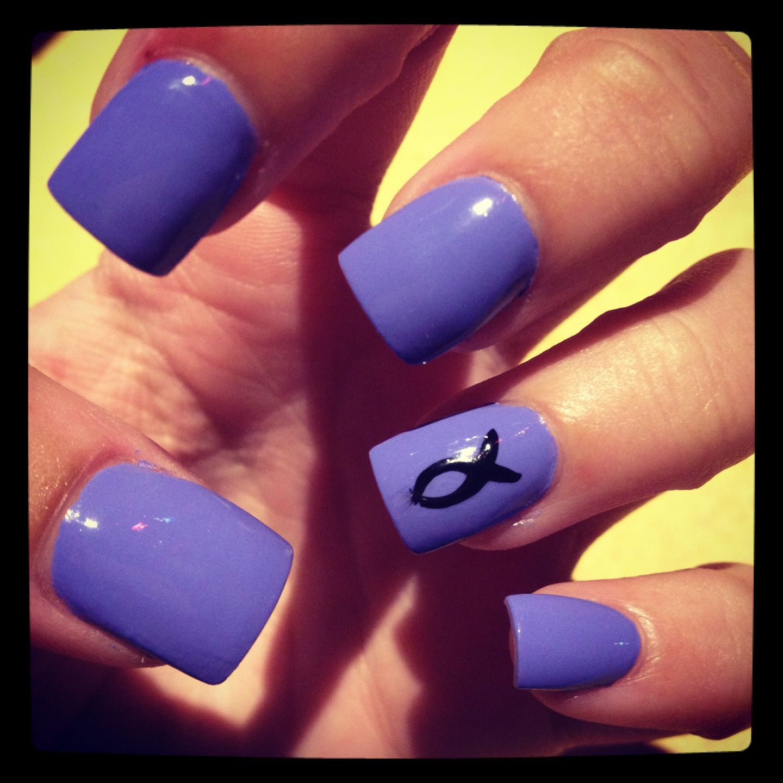 Easter Nails #acrylic #nails #purple #jesus #fish #nailart #festive ...