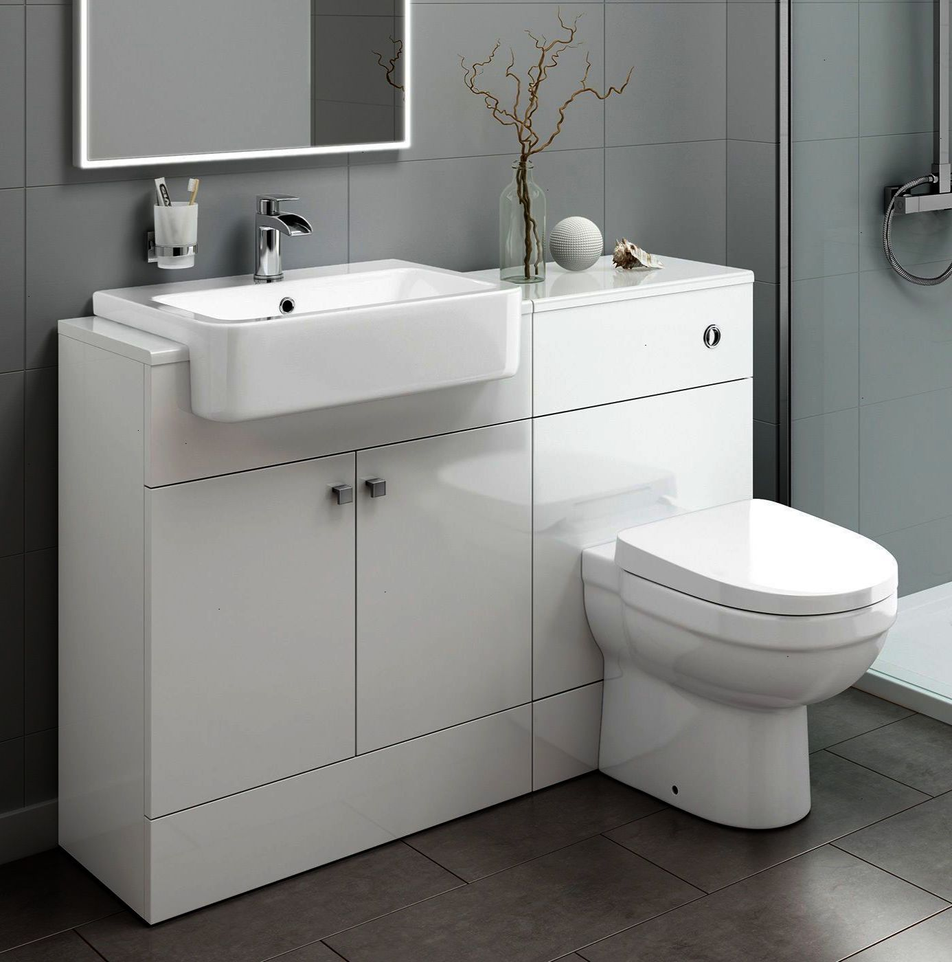 This Toilet And Sink Vanity Storage Unit Features A Built