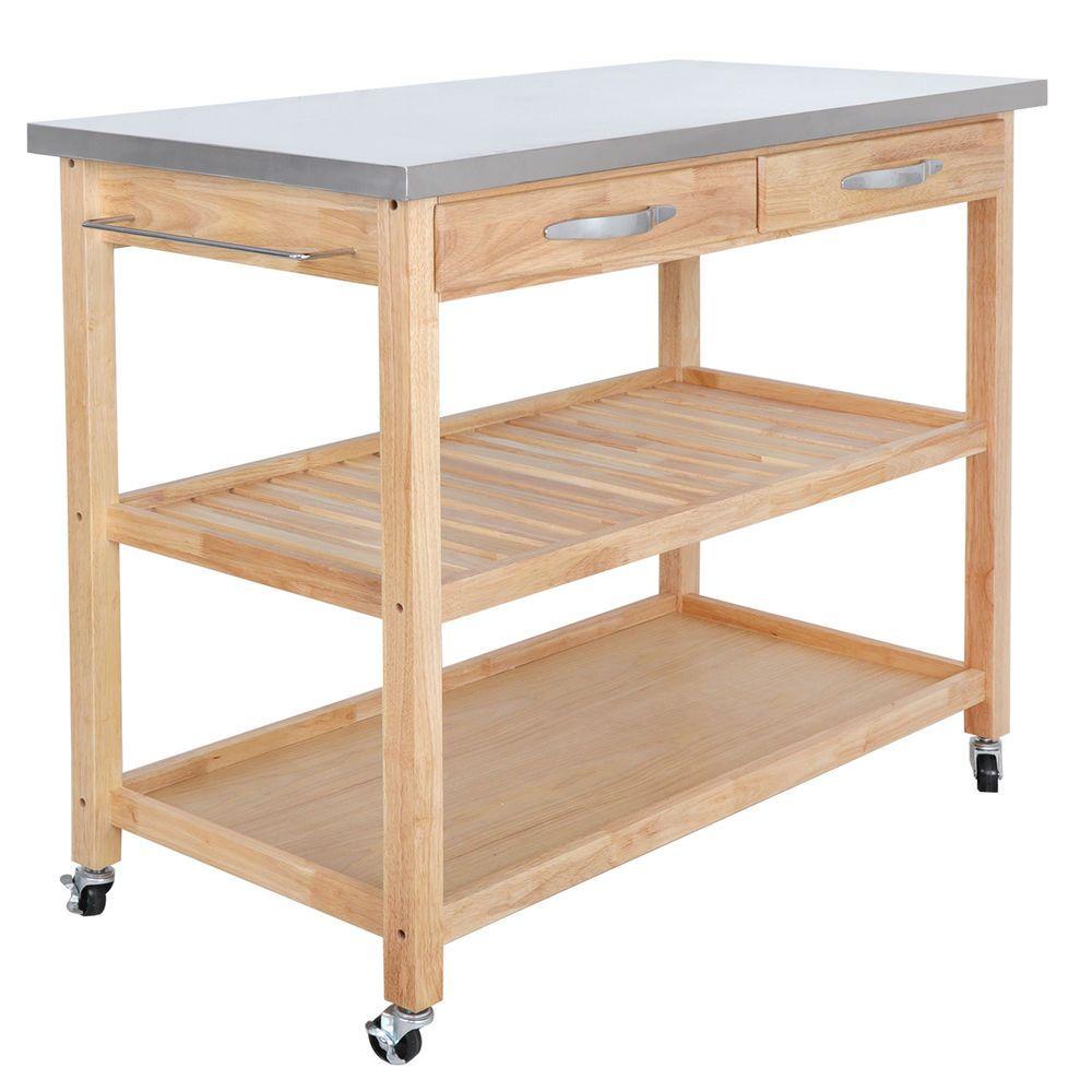 Details About Hardwood Kitchen Island Kitchenware Supplies Organizer
