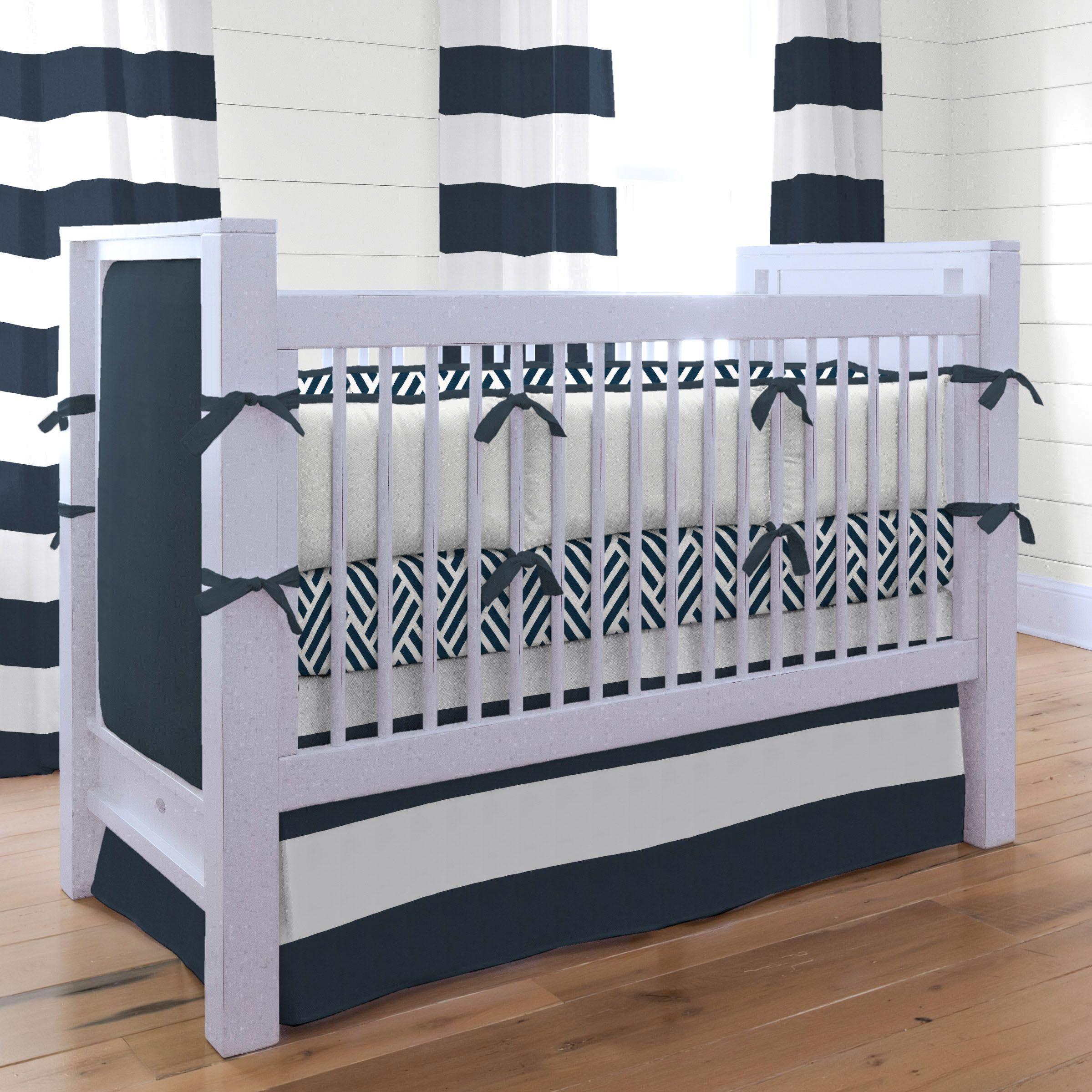 Navy and White Nautical Baby Crib Bedding