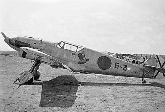 """Primer monoplano de Caza de la aviación nacional, el Messerschmitt BF-109 (C-4)  En la postguerra el """"BF-109"""" sirvió en el Grupo 25 de Reus, en la Escuela de Caza, y en el aeródromo de Alcalá de Henares, hasta 1953."""