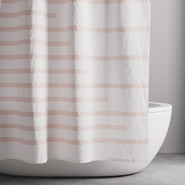 Organic Offset Lines Shower Curtain Pink Blush Bathroom In 2019