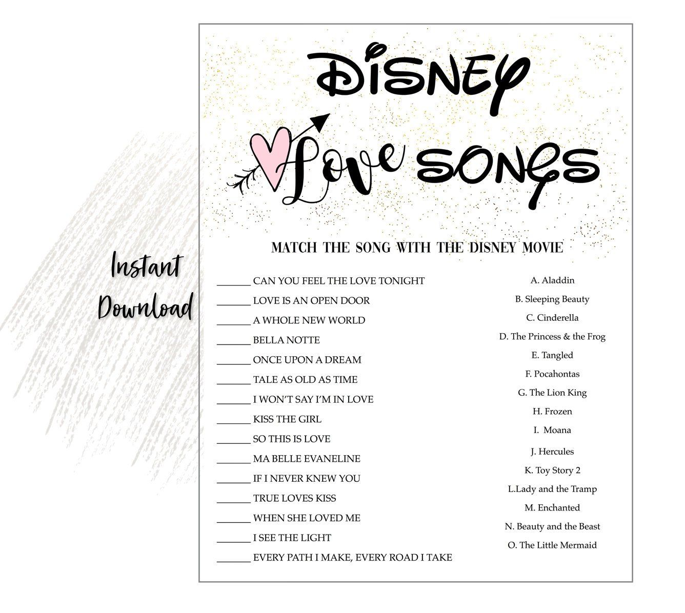 graphic regarding Guess the Disney Movie Song Printable titled Disney Take pleasure in Tunes Bridal Shower Activity Fast Down load