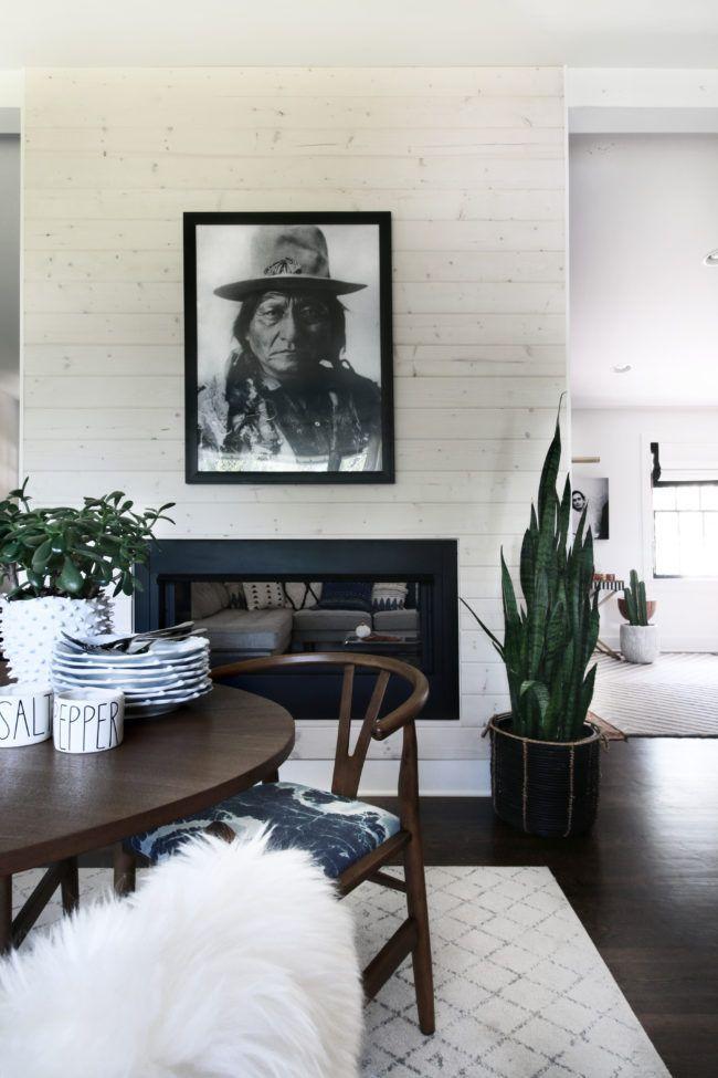 Whitewashed Wood Plank Modern Fireplace   Minimalist Wall Art ...
