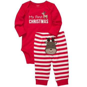 CARTERS UNISEX MY FIRST CHRISTMAS SLEEPER RED WHITE STRIPED NEWBORN//3 MONTHS NWT