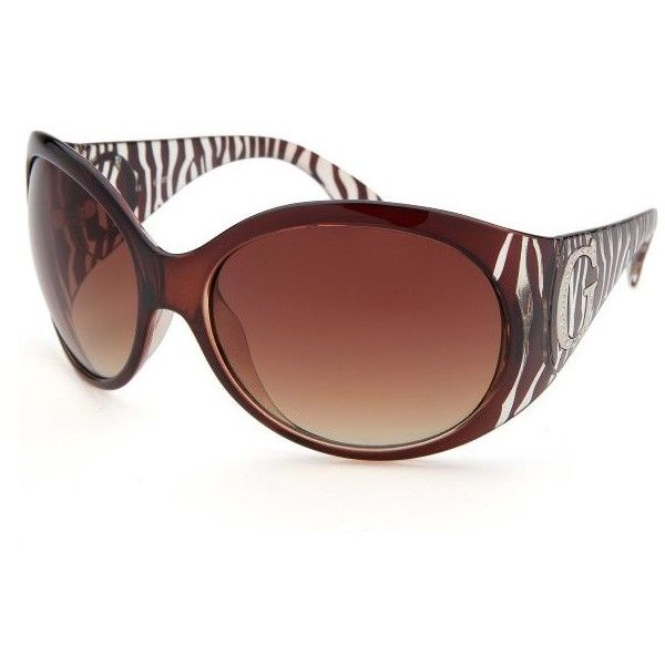 Guess Women's Oversized Brown Zebra Print Sunglasses (565 MXN) ❤ liked on Polyvore