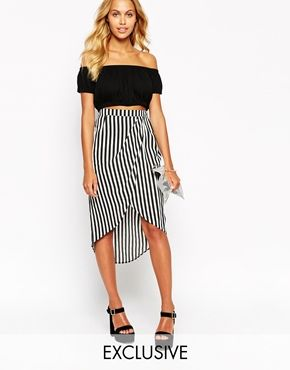 Love Wrap Front Midi Skirt In Stripe | Outfits | Pinterest | ASOS ...