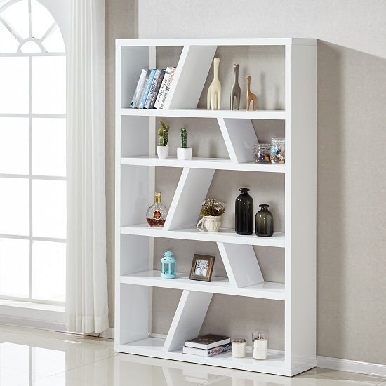 Helix Contemporary Bookcase Or Shelving Unit In White High Price