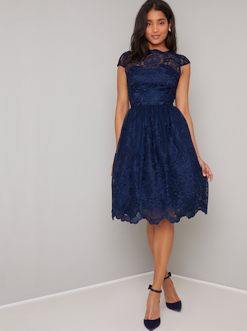 Chi Chi April Lace Bridesmaid Short Dress, Navy Blue | myonewedding.co.uk