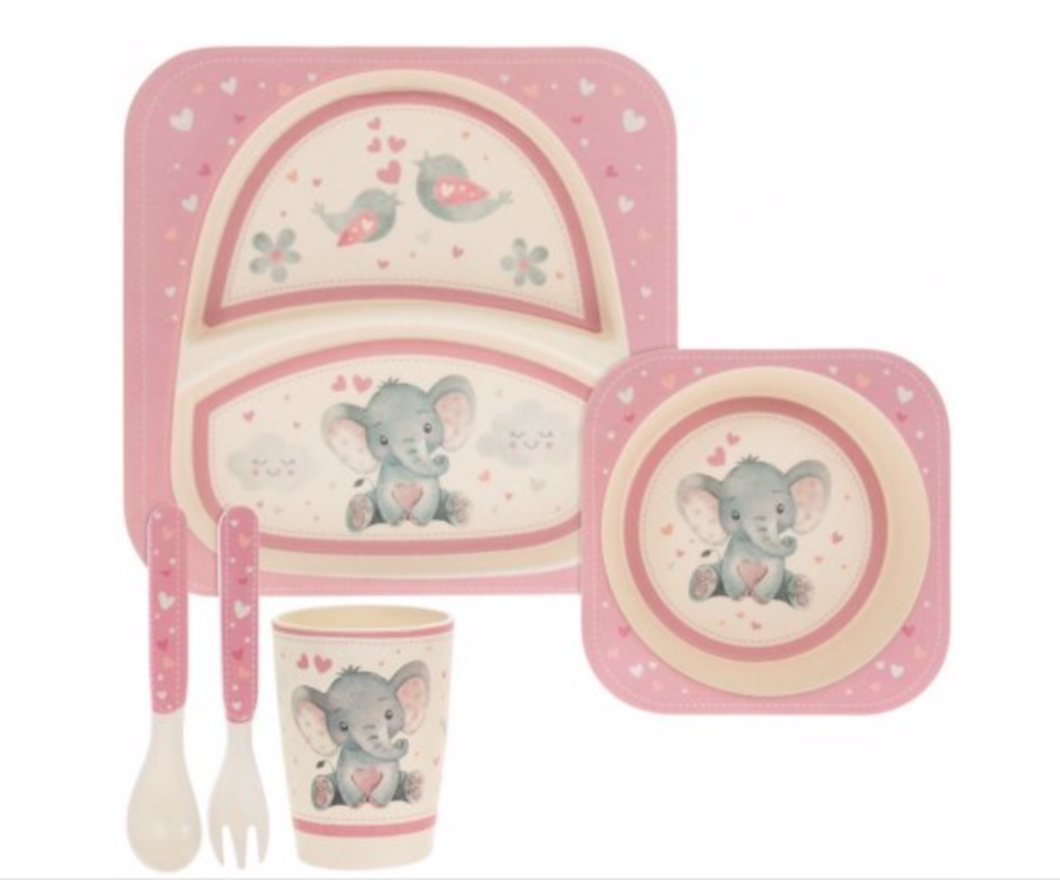 BIRD  ELLIE BLUE BAMBOO DINNER SET Covered with a cute elephant and bird decal this set of bluepink bamboo based kitchenwares will be sure to make a sweet gift idea for a...