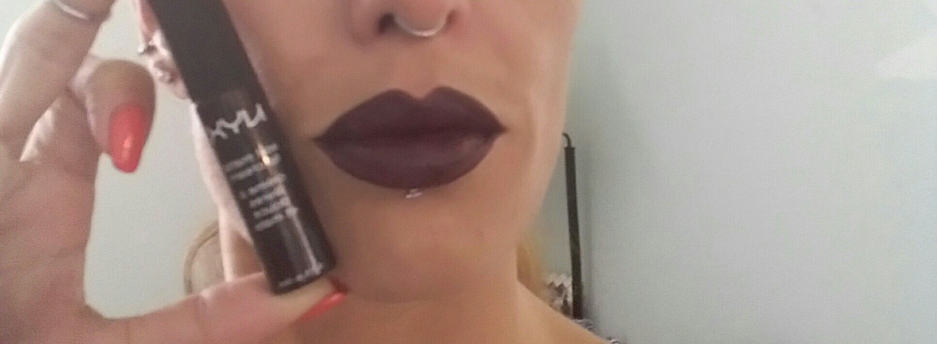 NYX soft matte lip cream:  SMLC21-Transylvania...I feel like Elvira! ;)  #nyxcosmetics #nyxsoftmattelipcream