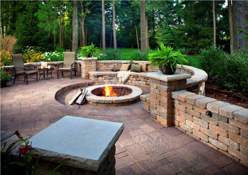 pavers backyard outdoor fire pit seating