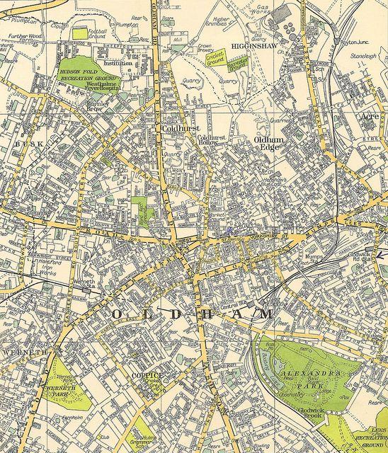 Oldham Lancashire street plan c1930 Street