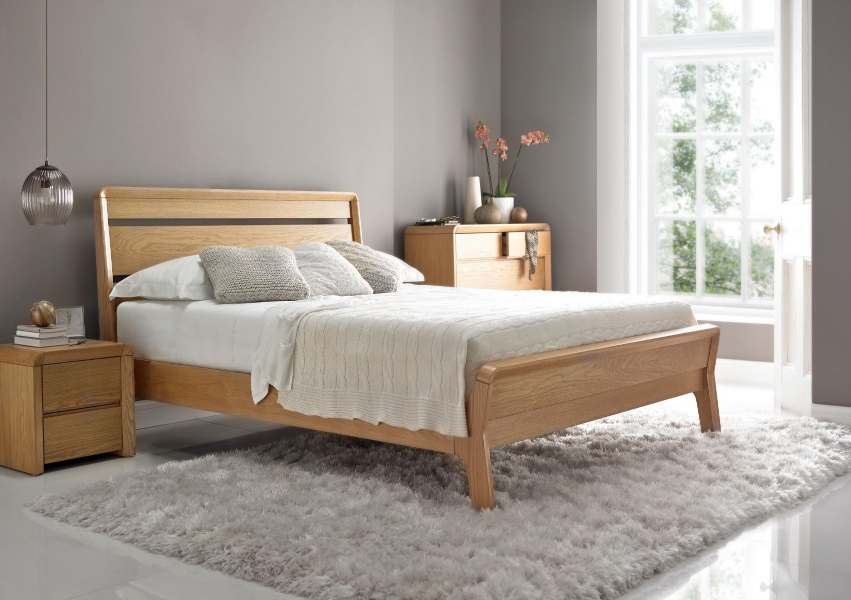 Brittany Oak Finish Bed Frame Light Wood Wooden Beds Beds King Size Bed Frame Oak Bedroom Furniture Cheap