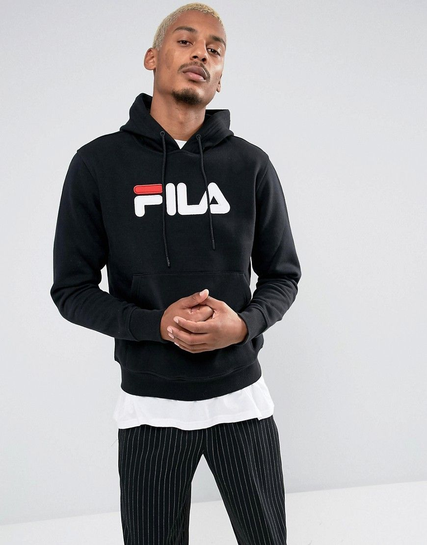 b72ba811263 Fila Vintage Hoodie With Large Applique Logo In Black - Black  Hoodie by Fila  Vintage