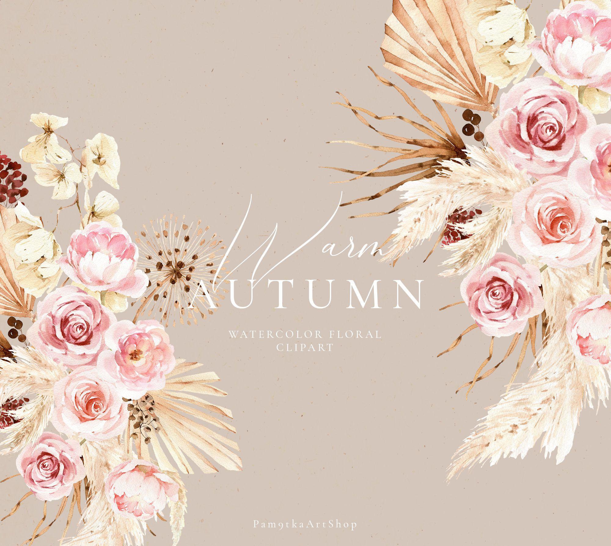 Autumn Watercolor Floral Clipart Elements Fall Flowers Fall Etsy Fall Watercolor Floral Watercolor Wedding Clipart