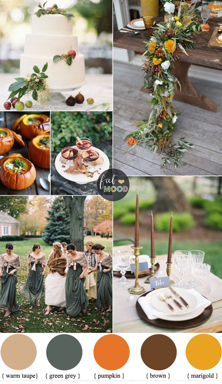 Warm Autumn Color Palette in warm spicy tones + green grey