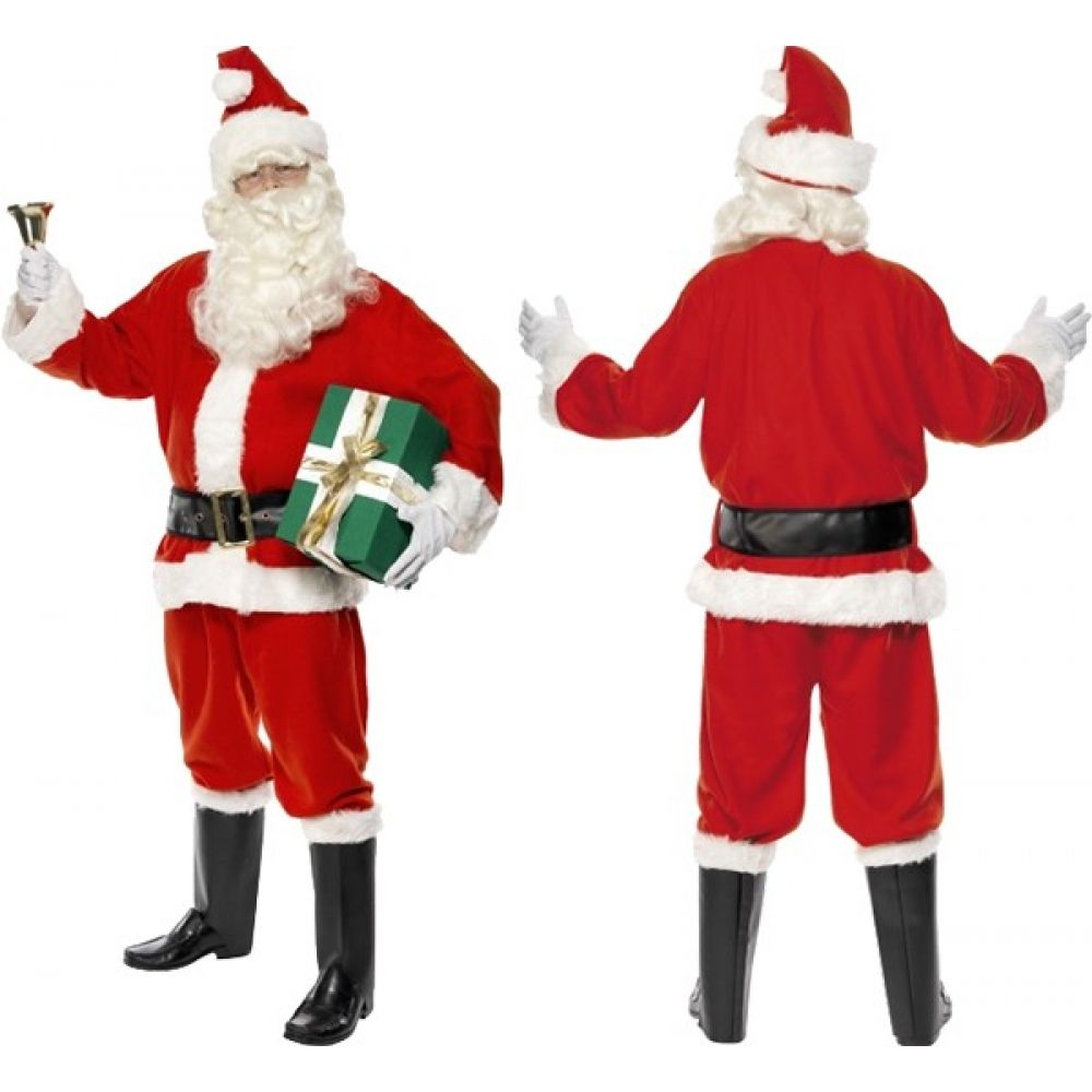 Mens gloves brisbane - Mens Deluxe Santa Father Plus Beard Hat Suit Boot Covers Belt And Gloves