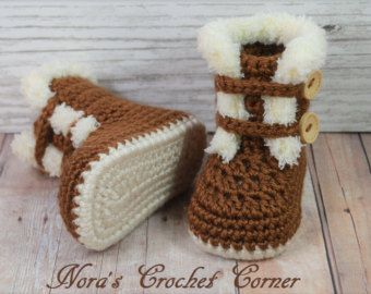 35c754023cf Crochet Fur Trim Baby Boots, Shoes - 228 | Crochet | Crochet baby ...