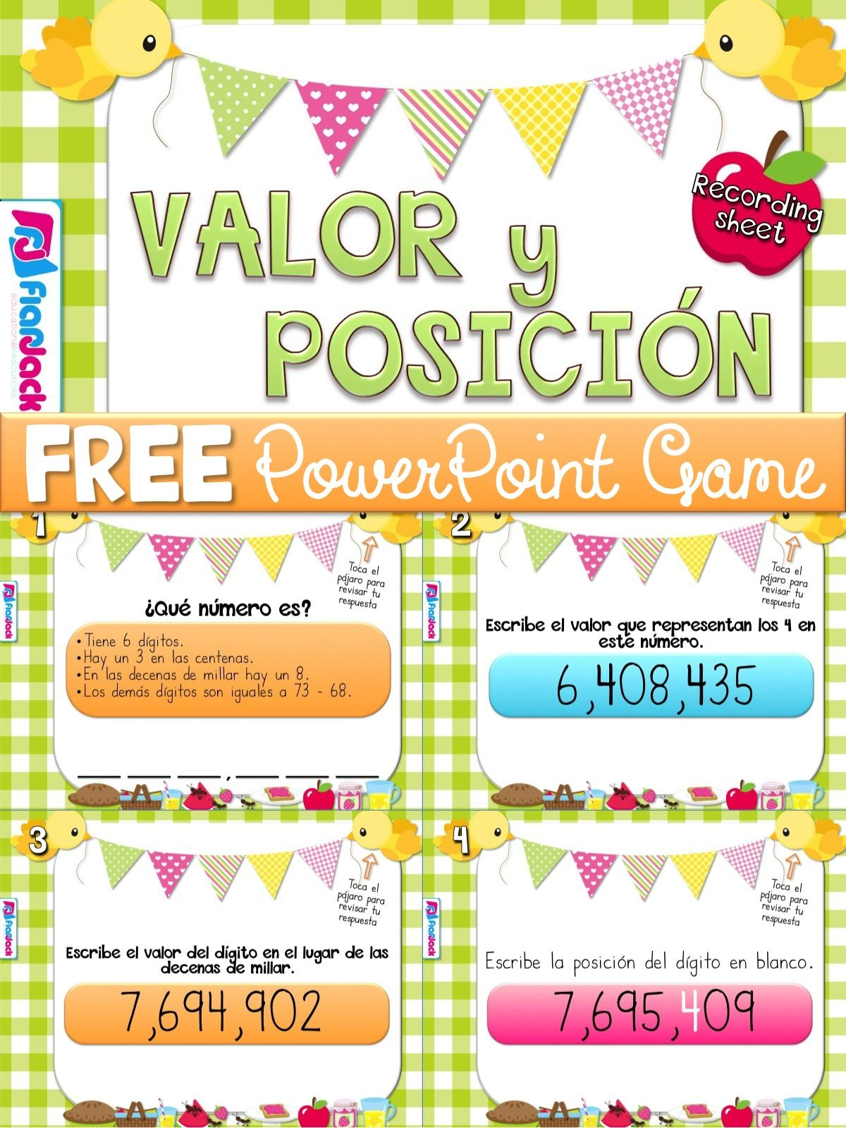 free place value spanish powerpoint game this is a very fun hands on spanish powerpoint game to motivate students to practice place value skills in  [ 1200 x 1600 Pixel ]
