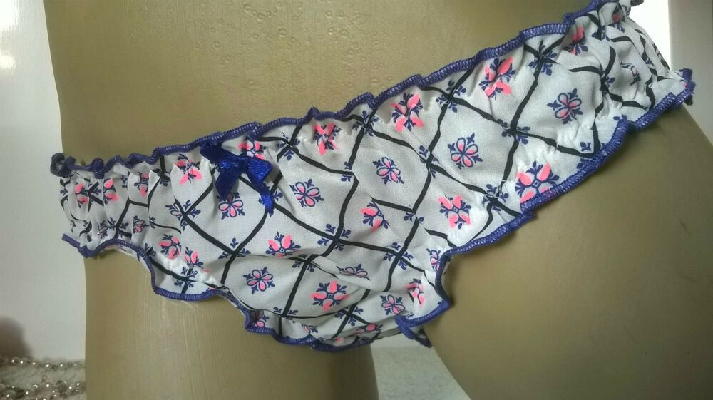 Cute Ivory Floral Bikini Panties Frilly Ruffle Knickers S 10
