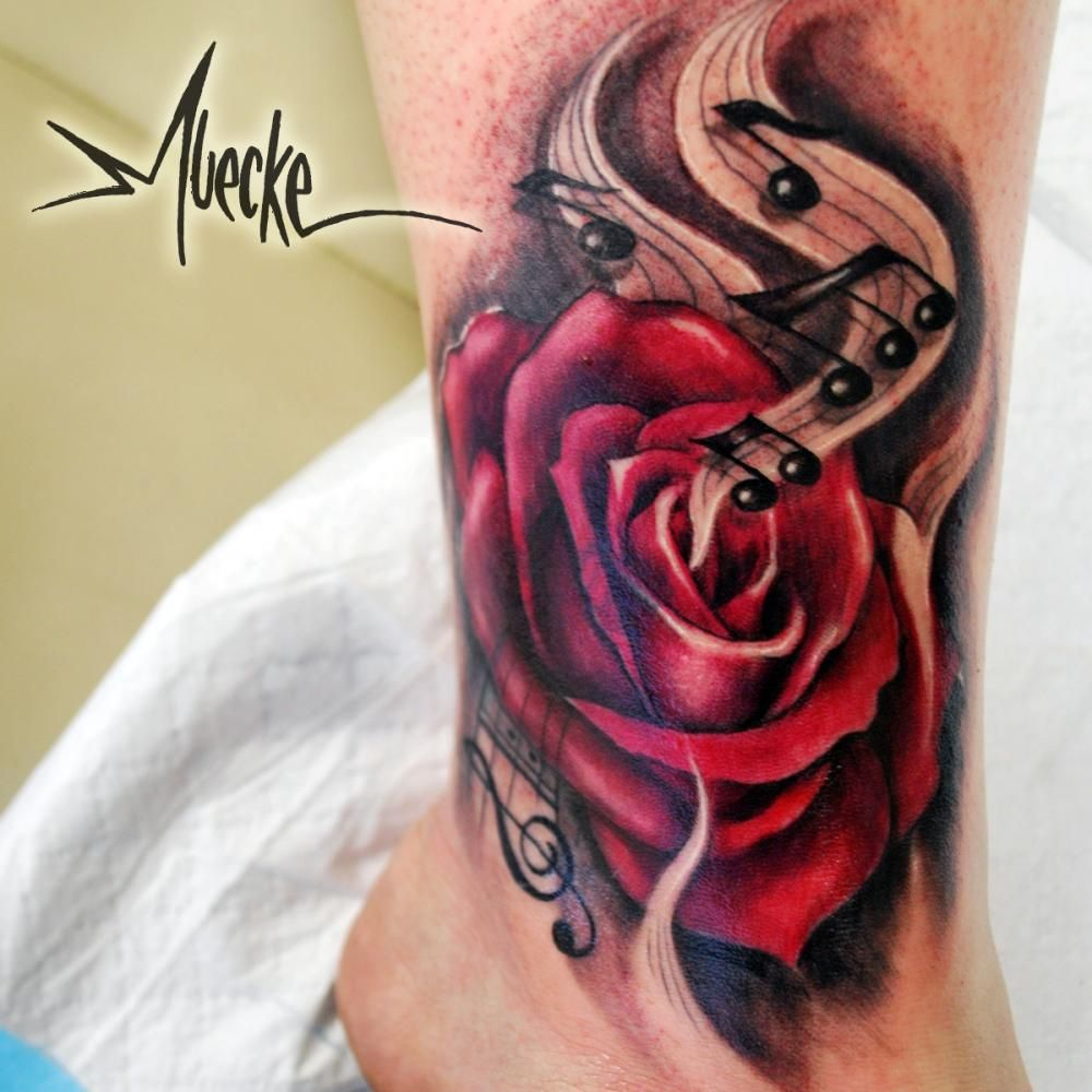 Av av avenged sevenfold tattoo designs - Tattoo By Muecke Art Tattoo Muecke Tattoos Rose Art A7x Treble Clef
