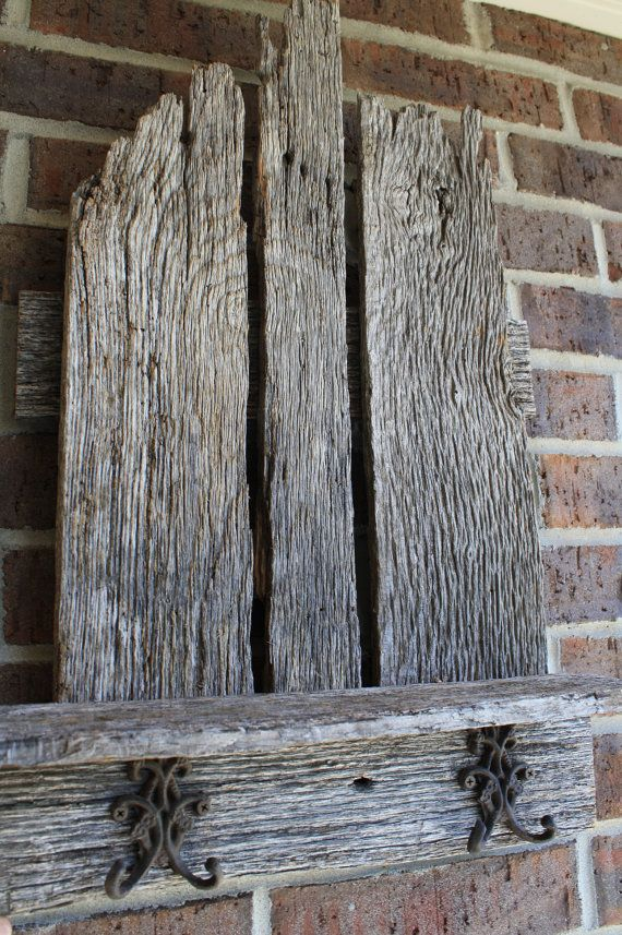 Natural Gray Reclaimed and Recylced Barn Wood Shelf with Coat Hooks ...
