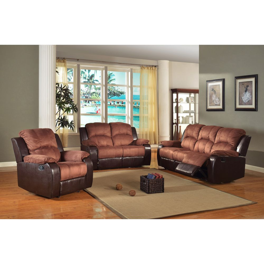 Pamela Two-tone Reclining Sofa and Loveseat Set - Overstock™ Shopping - Big Discounts on Living Room Sets