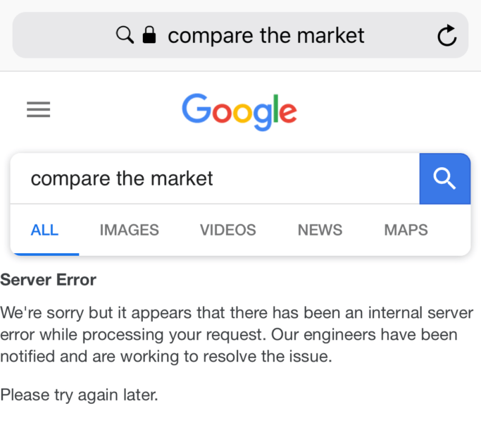 You Can Break Google Search By Searching For Compare The Market Compare The Market Broken Google Marketing